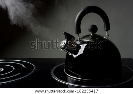 Tea kettle  with boiling water. - stock photo