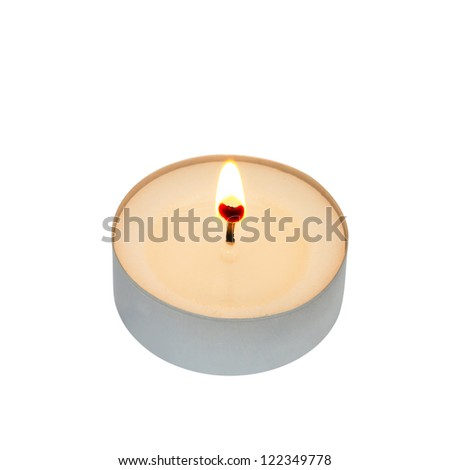 Tea light isolated on white with clipping path