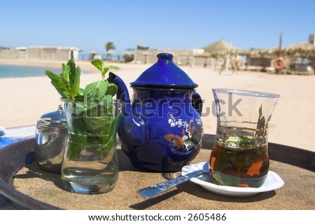 tea on the beach - stock photo