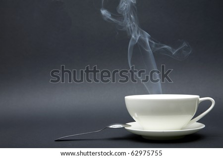 tea or coffee cup with smoke