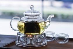 tea or hot tea and tea pot