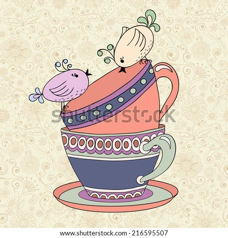 Tea Party Invitation Card Template Illustration With Cups And Birds