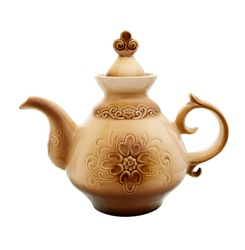 Tea Pot. Ceramic Teapot isolated on white background. Ceramic kettle with a pattern.
