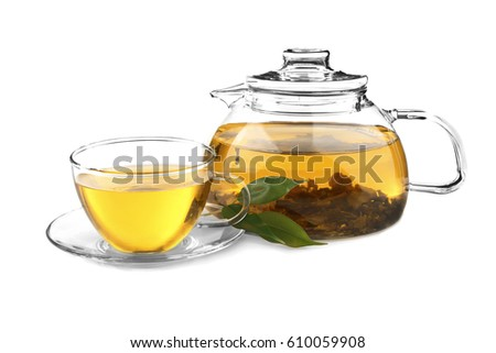 Tea pot with cup isolated on white #610059908