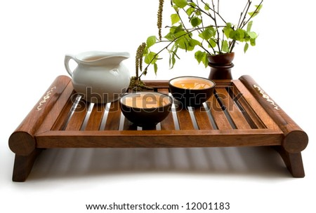 Tea serving in brown cups with  wooden cutlery. Isolated on white. - stock photo