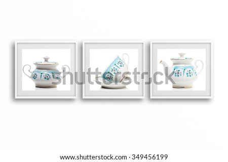 Shutterstock Tea set collage photos in frames, coffee shop interior design mockup