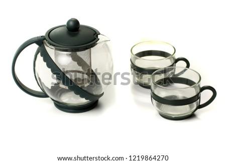Tea set or tea set with tea on background -