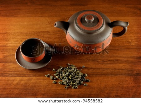 tea still life, view from above on cup, kettle and pile of dry tea, all on wooden desk