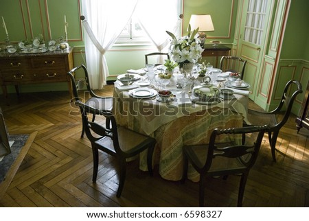 Tea table in Chateau Cheverny. Loire Valley, France.