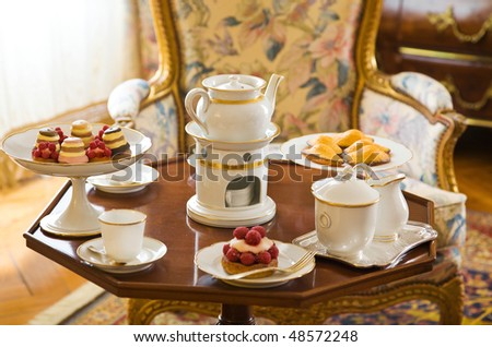 Tea table setting at Cheverny Chateau, France - stock photo