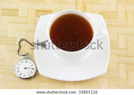 Tea time, cup of tea on wooden background