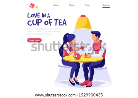 Tea time, relaxed festive party, pastry concept. Prepare drink for season communication. Hot beverages, cold lemon slice, beverage aroma on table. Male happy dating with female set.