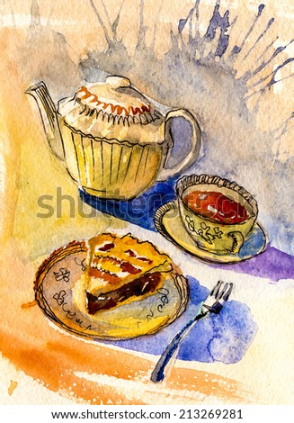 Tea time still life poster painting watercolor oil illustration hand drawn ar