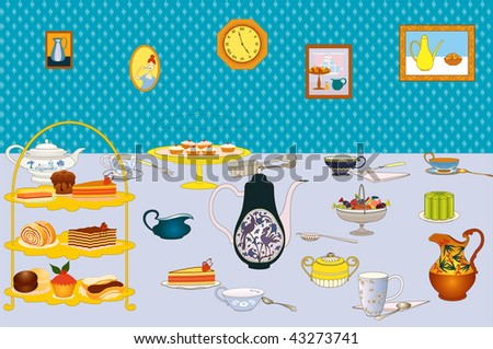 Tea with cakes for celebration