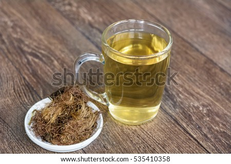 tea with Dry Corn Silk Herb for kidneys problems. Selective focus #535410358