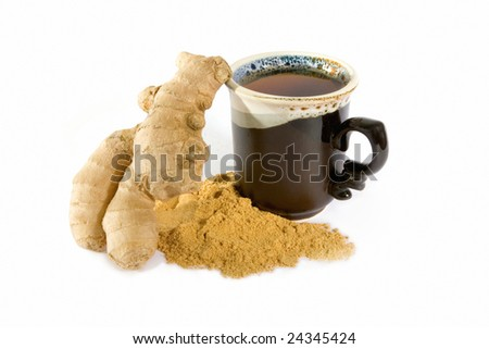 Tea with ginger powder in ceramic mug