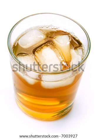 Tea with ice over white background