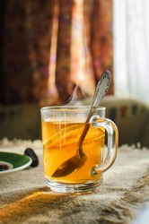 Tea with lemon in a glass