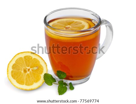 Tea with lemon isolated on white background