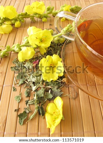 Tea with mullein flowers