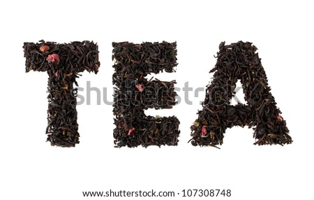 Tea word, made from tea and mixed forest fruits