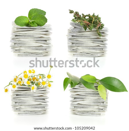 Teabags with herbal tea - mint, chamomile and thyme
