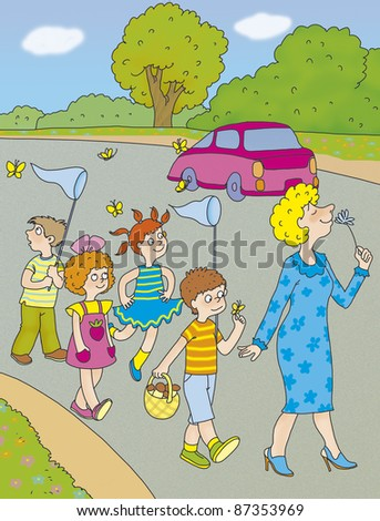 teacher and a group of children go on the road