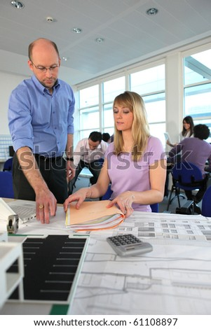 Teacher and student in architecture