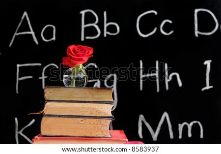 teacher appreciation - rose and a blackboard