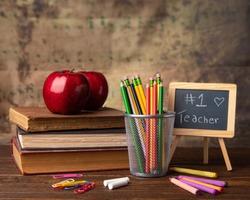 teacher beast  apple books pencils crayons chalk board  apple for teacher back to school supplies learning education advertisement room for text kids heart brainy blackboard children educate greatest