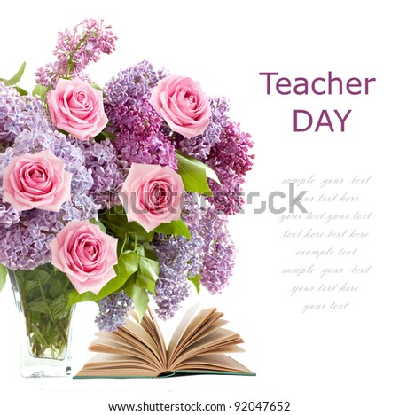 Teacher day (rich bouquet with lilac flowers and pink and book roses