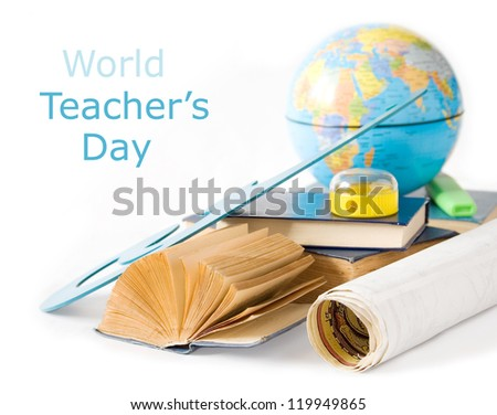 Teacher Day (still life with books, map, sharpener and globe isolated on white background) - stock photo