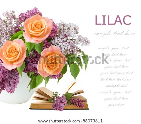Teacher day (still life with bunch of lilac, cream roses and books isolated on white)