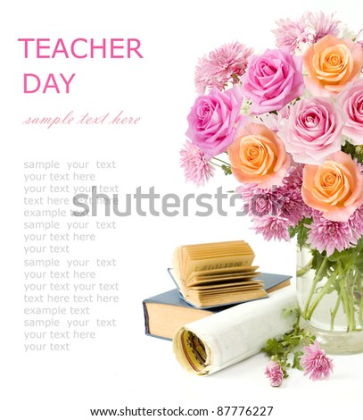 Teacher day (still life with bunch of pink and cream roses, books and map isolated on white)