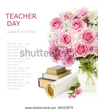 Teacher day (still life with bunch of  pink roses, books and map isolated on white) - stock photo