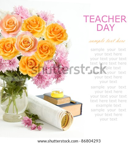 Teacher day (still life with bunch of pink, yellow and cream roses, books, map, pencil and pencil sharpener isolated on white)
