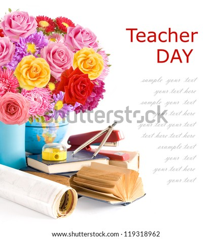 Teacher Day (still life with huge bunch of roses,asters and peonies, globe, map, book and sharpener isolated on white background) - stock photo