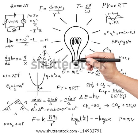 teacher hand writing various high school maths and science formula with light bulb ( symbol of idea and solution )