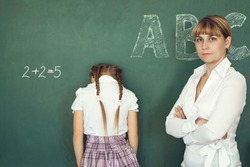 Teacher has punished the schoolgirl for the wrong example.