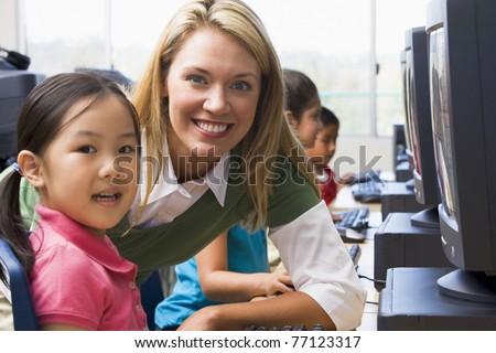 Student Teacher Teacher Helping Student at