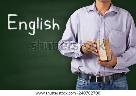 Teacher in classroom, education concept, Learning language - English