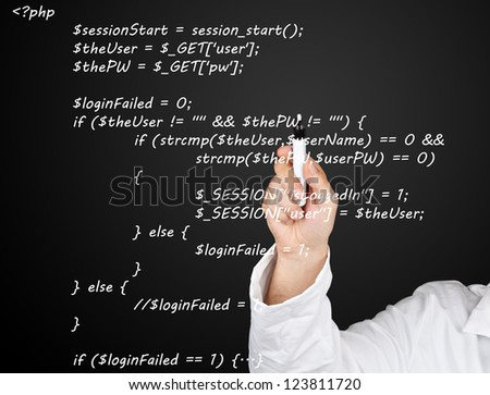 Teacher or scientist writing PHP source code from webpage on blackboard - stock photo