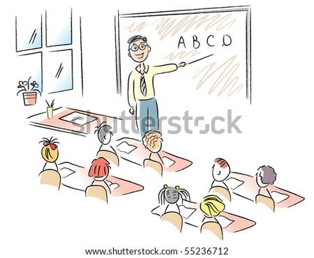 Teacher teaches children in classroom. Rasterized vector - stock photo
