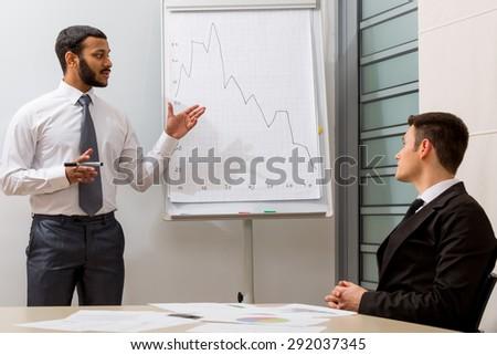Teacher teaches the student.Business training.