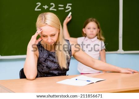 teacher tired of stupid student Stock foto ©