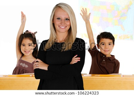 Teacher with her students in a classroom