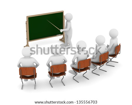 teacher with pointer at blackboard. Isolated 3D image