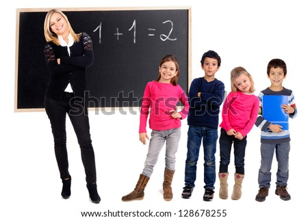 Teacher with students isolated in white