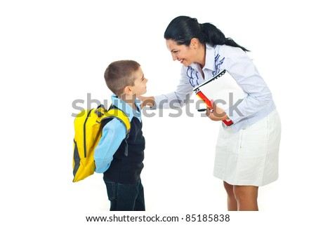 Teacher woman or mother talking with schoolboy isolated on white background