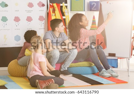 Teacher writing on whiteboard in classroom/Teacher writing on whiteboard/Sunny, partly cloudy, cloudy, rainy, snowy, sleeting, icy, tornado, thumder